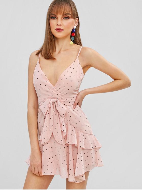 chic Ruffle Cami Polka Dot Mini Dress - PINK L