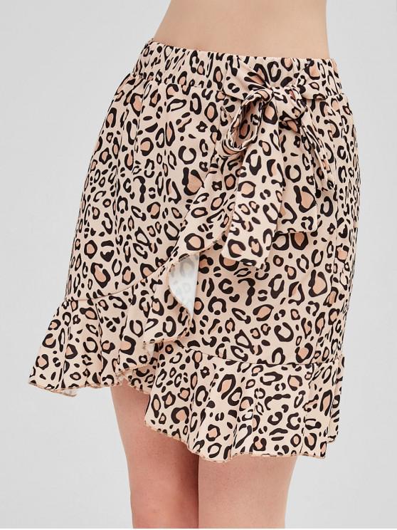 lady Leopard Flounce Tied Skirt - LEOPARD L