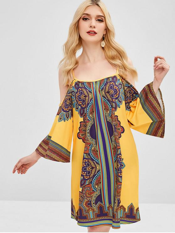online ZAFUL African Print Cold Shoulder Tunic Dress - MULTI L