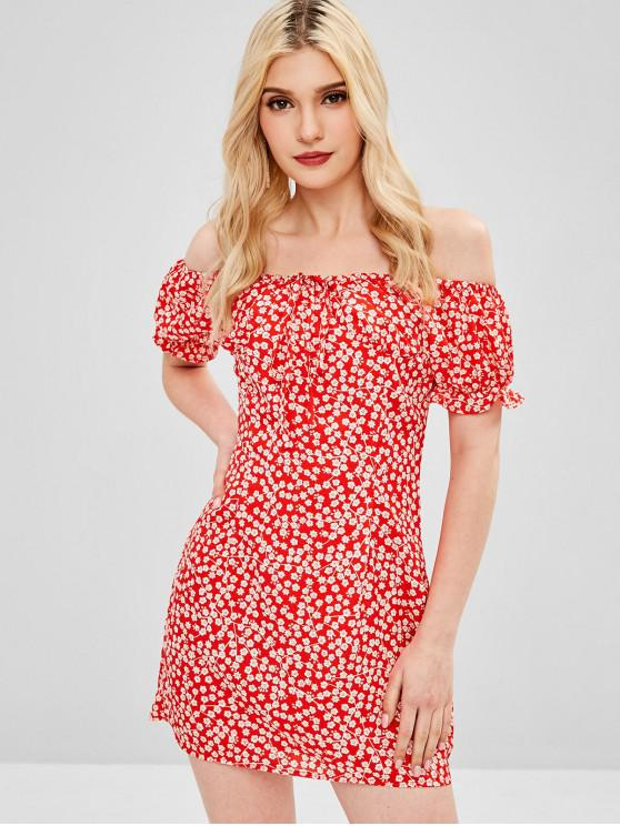 c37829e1ae3 43% OFF  2019 Off Shoulder Tiny Floral Mini Dress In BEAN RED