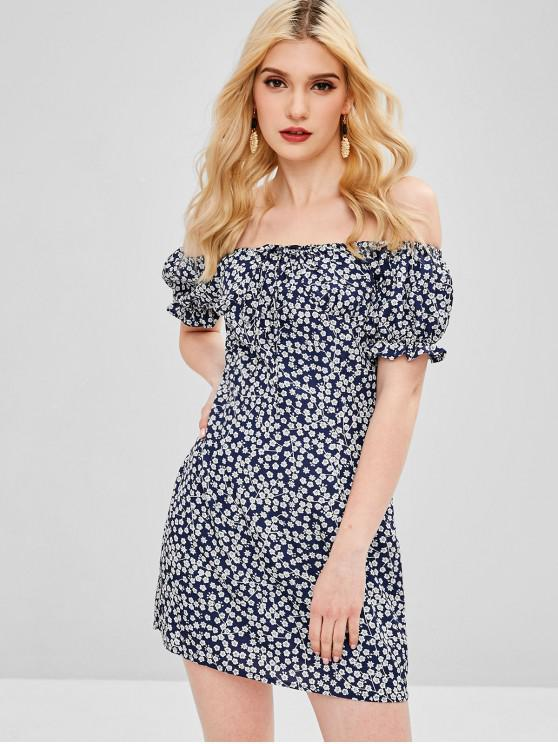 buy Off Shoulder Tiny Floral Mini Dress - MIDNIGHT BLUE S