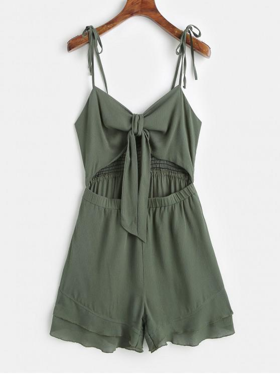 fashion ZAFUL Smocked Tie Front Cut Out Romper - CAMOUFLAGE GREEN L