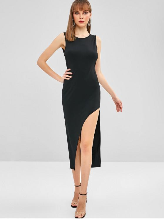 latest ZAFUL Open Back Bodycon Asymmetrical Dress - NIGHT L
