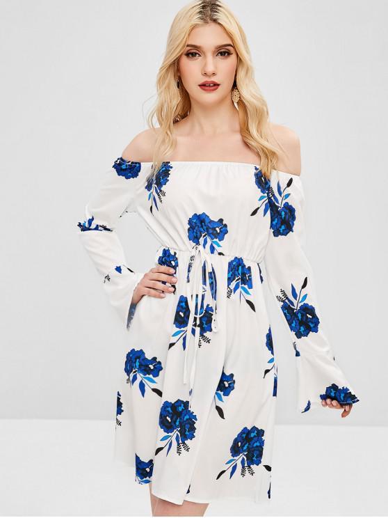 Robe Evasée Fleurie Imprimée à Epaule Dénudée - Blanc M