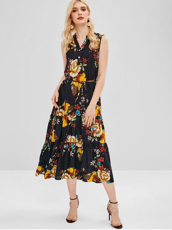 affordable Floral Print Belted Sleeveless Dress - GOLDENROD L
