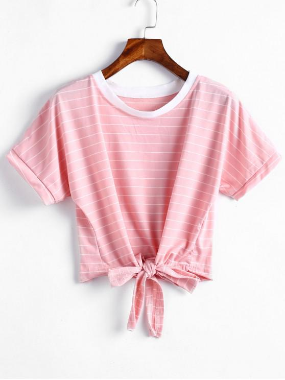 affordable Tie Hem Cropped Striped Top - PINK M