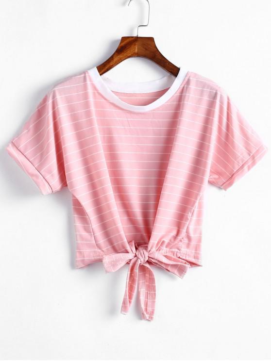 shops Tie Hem Cropped Striped Top - PINK S