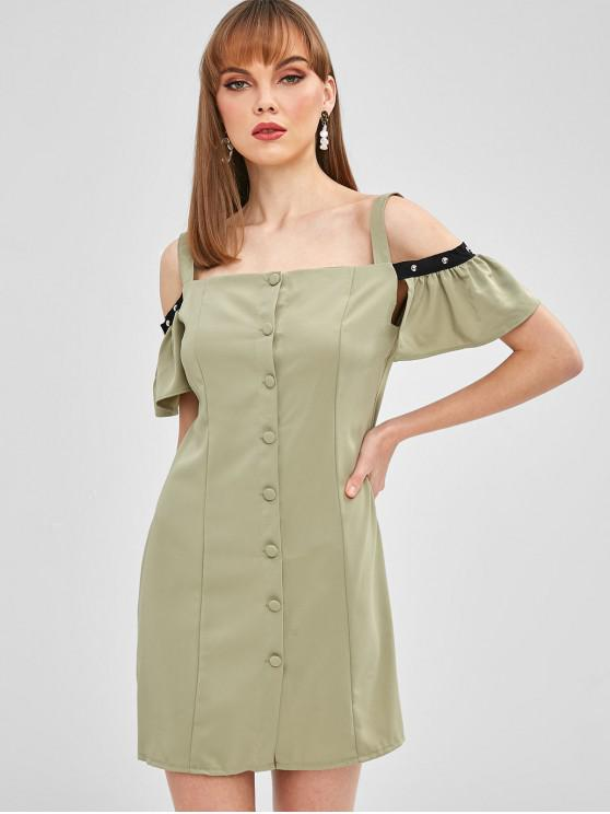 women's Button Up Cold Shoulder Mini Dress - AVOCADO GREEN M