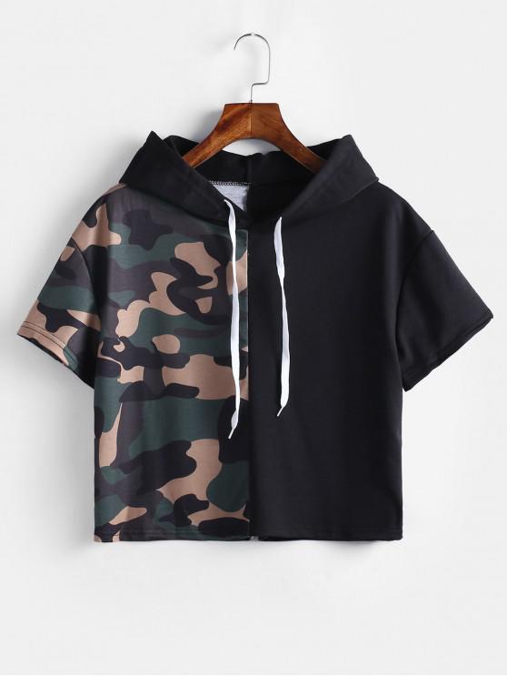 trendy Hooded Paneled Cropped Tee - MULTI S