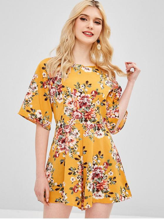 women Raglan Sleeve Floral Open Back Romper - BEE YELLOW M