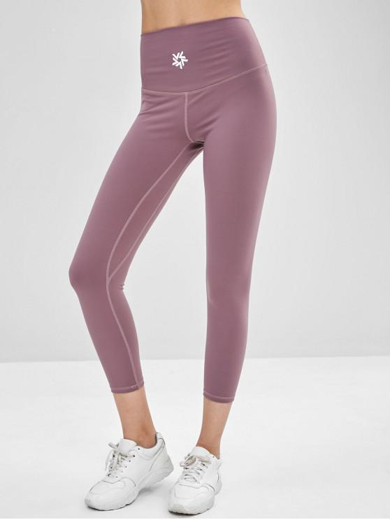 affordable High Waisted Graphic Leggings - WISTERIA PURPLE S