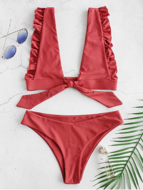 women's ZAFUL Ruffle Bralette Tied Bikini Set - CHESTNUT S