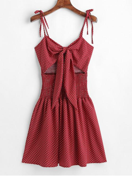 shop ZAFUL Smocked Tie Front Dots Dress - RED WINE S