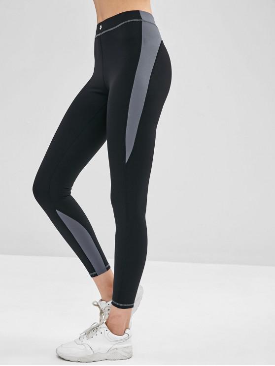 fashion Skinny Color Block Graphic Leggings - BLACK S