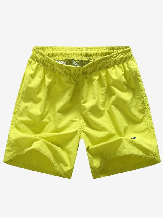 trendy Solid Color Embroidery Letters Print Neon Board Shorts - YELLOW S