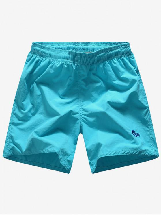 online Solid Color Embroidery Letters Print Neon Board Shorts - MACAW BLUE GREEN S