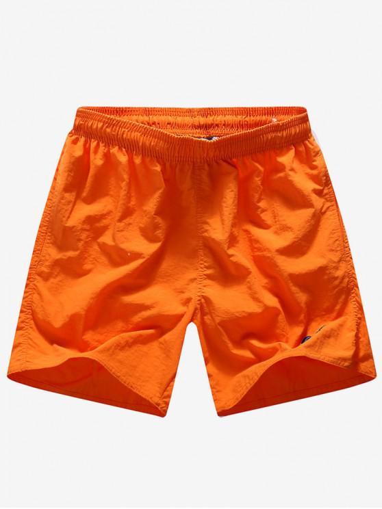 Letras de bordado de color sólido imprimir pantalones cortos de neón bordo - Naranja S