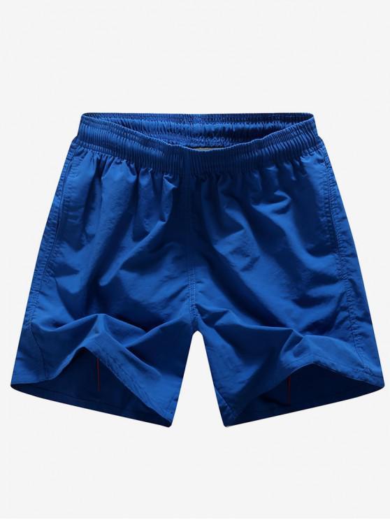 Letras de bordado de color sólido imprimir pantalones cortos de neón bordo - Azul Profundo M