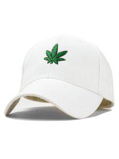 Maple Leaf Embroidery Baseball Hat - White