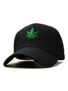 Maple Leaf Embroidery Baseball Hat - Black