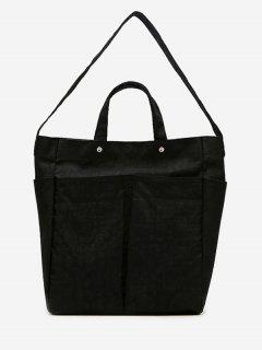 Multi Pocket Canvas Shoulder Bag - Black
