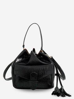 Striped Leather Drawstring Bucket Shoulder Bag - Black