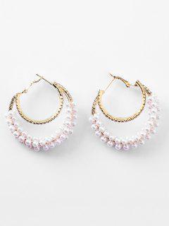 Rhinestone Beads Two Layered Ring Hoop Earrings - White
