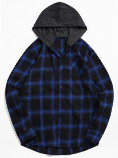 Chest Pocket Plaid Hood Patchwork Shirt - Blue M