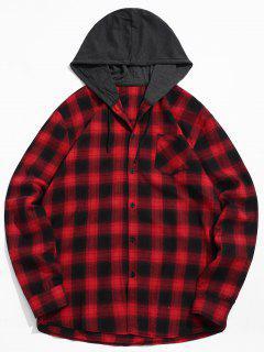 Patchwork-Hemd Mit Karomütze Und Brusttasche - Rot 2xl