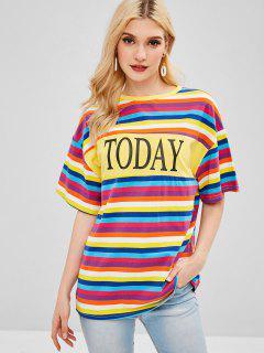 Camiseta A Rayas Con Estampado De Letras ZAFUL - Multicolor L
