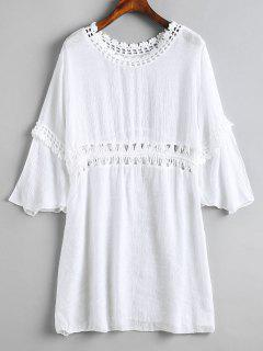 Crochet Panel Beach Dress - White