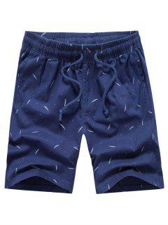 Porka Dots Leaves Print Drawstring Board Shorts - Deep Blue 34