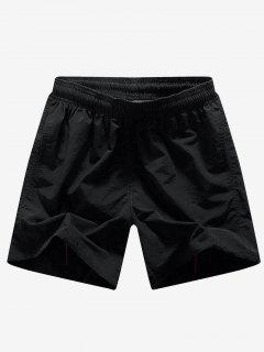Solid Color Embroidery Letters Print Board Shorts - Black S