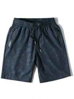 Water Printed Casual Beach Shorts - Blue Gray L