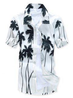 Short Sleeves Coconut Trees Print Beach Shirt - White L