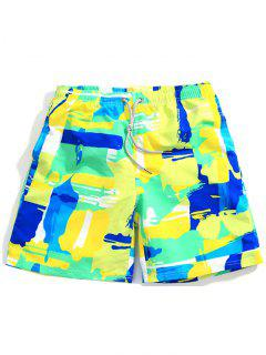 Colorful Abstract Painting Print Drawstring Beach Shorts - Yellow Green Xs