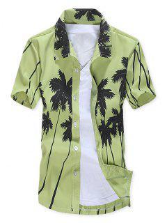 Camisa De Playa De Manga Corta Con Estampado De árboles De Coco - Verde De Pistacho L