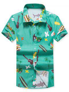 Camisa De Playa De Manga Corta Con Estampado De árboles De Coco De Flores - Verde L