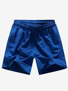 Pantalones Cortos Bordados En Color Liso - Azul Profundo S
