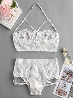 Lace Strappy Halter Lingerie Set - White L