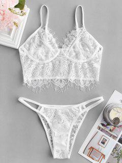 Lace Scalloped Thong Lingerie Set - White M