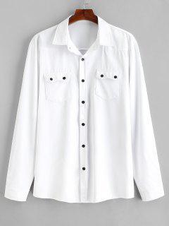 Chemise Décontractée à Poches à Rabat - Blanc 2xl
