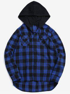 Pocket Hood Patchwork Plaid Shirt - Blue Xl