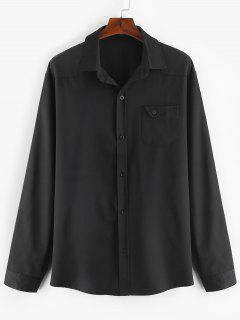 Pecho Bolsillo Camisa Sólida - Negro 2xl