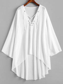 Vestido De Gasa Con Cordones Y Bajo Alto - Blanco S
