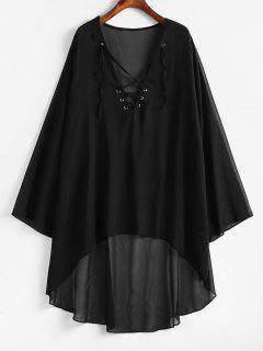 Lace-up Chiffon High Low Dress - Black 2xl
