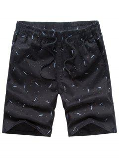 Porka Dots Leaves Print Drawstring Board Shorts - Black 32