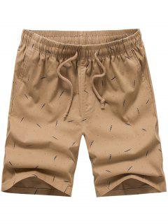 Porka Dots Leaves Print Drawstring Board Shorts - Khaki 34