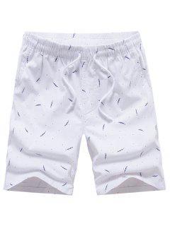 Porka Dots Leaves Print Drawstring Board Shorts - White 32
