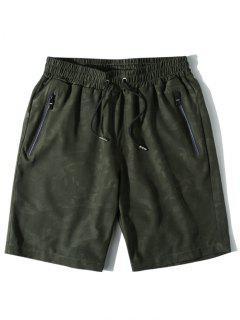 Zipper Pockets Casual Drawstring Shorts - Army Green S